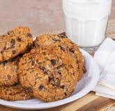 Placa de cookies da porca da passa da farinha de aveia fotos de stock