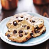 Placa de cookies dos pedaços de chocolate Imagens de Stock