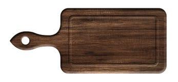 Placa de corte da cozinha feita da madeira escura imagem de stock