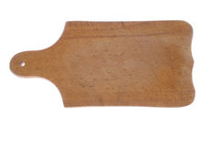 Placa de corte de madeira em um fundo branco fotos de stock