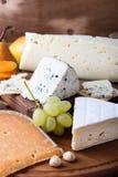 Placa de corte de madeira do queijo, do fruto e do vinho Fotos de Stock Royalty Free