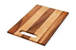 Placa de corte de madeira do retângulo, placa de desbastamento de madeira vazia, isolada no fundo branco com trajeto de grampeame foto de stock