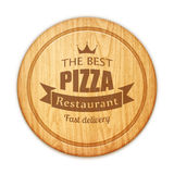 Placa de corte redonda vazia com etiqueta do restaurante da pizza Imagem de Stock Royalty Free