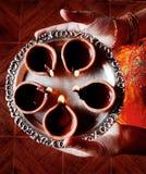 Placa de Diyas - celebraciones del diwali foto de archivo