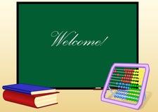 Placa de escola e livros e ábaco Imagem de Stock Royalty Free