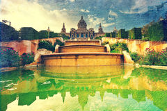 Placa de Espanya, το Εθνικό Μουσείο στη Βαρκελώνη. Ισπανία. Στοκ Εικόνες