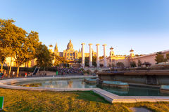 Placa de Espanya, το Εθνικό Μουσείο στη Βαρκελώνη Στοκ Φωτογραφίες