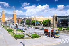 Placa De Espanya, Barcelona. Spanien Lizenzfreie Stockfotografie
