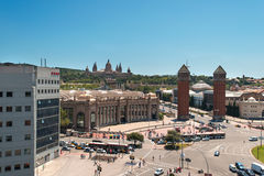 Placa De Espanya the National Museum in Barcelona Spain Stock Photography