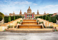 Placa de Espanya -  National Museum in Barcelona. Royalty Free Stock Photography