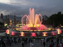 Barcelona. Spain. Fountains at night. royalty free stock photography
