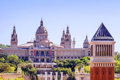 Placa De Espanya, the National Museum in Barcelona. Spain.  Stock Photos