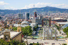 Placa De Espanya View, Barcelona, Spain Royalty Free Stock Images