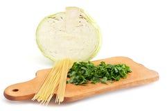 Placa de estaca, kale, salsa, massa Imagens de Stock
