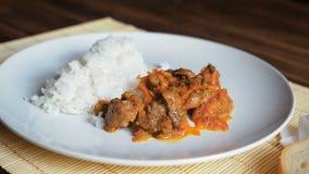 Placa de fresco, cozinhando o arroz Cena estática com o prato cerâmico branco da neve do arroz e da carne fritada aos vegetais no video estoque