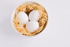 Placa de huevos hervidos Fotografía de archivo