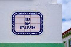 A placa de identificação da rua em Angra faz Heroismo, ilha de Terceira, Açores Imagem de Stock Royalty Free