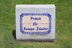 A placa de identificação da rua em Angra faz Heroismo, ilha de Terceira, Açores Fotos de Stock Royalty Free