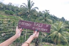 A placa de identificação de madeira com texto Bali diário é feriado nas mãos da mulher em um fundo tropical do terraço do arroz d Fotos de Stock Royalty Free