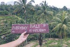 A placa de identificação de madeira com texto Bali diário é feriado nas mãos da mulher em um fundo tropical do terraço do arroz d Foto de Stock Royalty Free