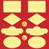 Placa de identificação dourada ajustada (vetor, CMYK) Imagens de Stock Royalty Free
