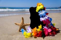 Placa de identificação no Sandy Beach do tha Imagem de Stock Royalty Free