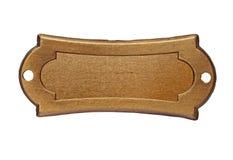 Placa de identificación del latón del vintage Fotografía de archivo