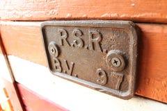Placa de identificación en tren viejo Fotografía de archivo