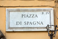 Placa de la calle de Piazza famosa di Spagna roma imagen de archivo