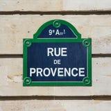 Placa de la calle de Rue de Provence Fotografía de archivo libre de regalías