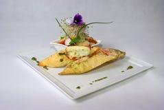 Placa de la comida de cena fina foto de archivo libre de regalías
