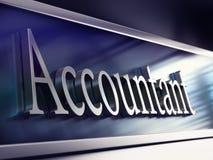 Placa de la compañía del contable, representación 3d Fotografía de archivo libre de regalías