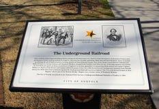 Placa de la conmemoración del ferrocarril subterráneo Imagen de archivo