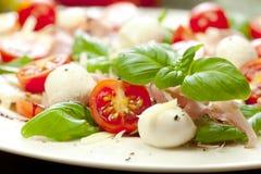 Placa de la ensalada caprese deliciosa clásica sana con los tomates y el queso maduros de la mozzarella con las hojas frescas de  foto de archivo libre de regalías