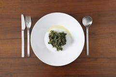 Placa de la espinaca hervida con aceite de oliva Imágenes de archivo libres de regalías
