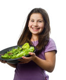 Placa de la explotación agrícola de la chica joven con la ensalada Foto de archivo