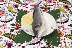 Placa de la flor de los pescados del monstera del limón Imágenes de archivo libres de regalías