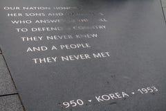 Placa de la inscripción del monumento de Guerra de Corea Fotos de archivo libres de regalías