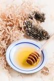 Placa de la miel con los panales Foto de archivo