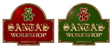 Placa de la muestra del taller de Papá Noel Imagenes de archivo