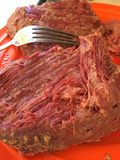 Placa de la naranja de la carne en lata Fotografía de archivo libre de regalías