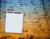 Placa de la propiedad privada Imagen de archivo