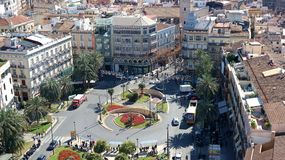Placa de la Reina. Square in Valencia city centre, view from above royalty free stock photo