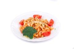 Placa de la salsa de los espaguetis y de tomate Foto de archivo libre de regalías