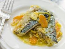 Placa de la sardina Escabeche Fotografía de archivo libre de regalías
