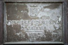 Placa de la universidad de Catania Fotografía de archivo