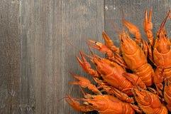 Placa de lagostas vermelhas na tabela de madeira velha no canto da esquerdo-parte inferior Fotos de Stock