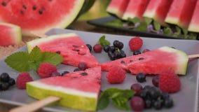 Placa de las frutas del verano en la tabla almacen de metraje de vídeo