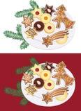 Placa de las galletas de la Navidad Fotografía de archivo libre de regalías