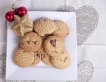 Placa de las galletas de la Navidad fotografía de archivo